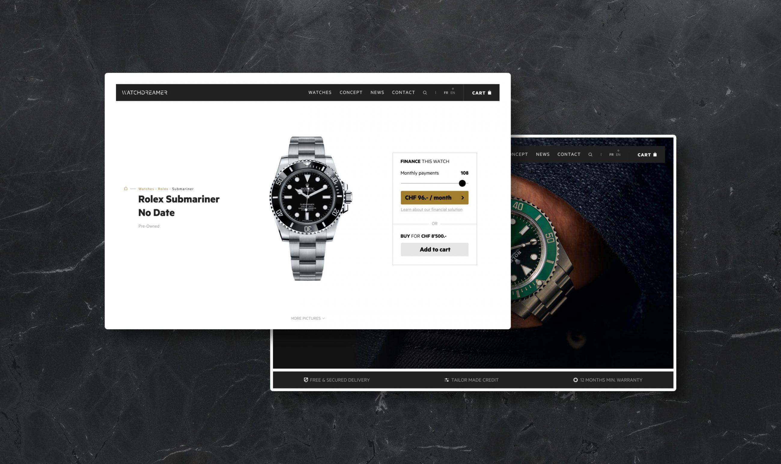Maquettes du site de vente de montres de luxe Watchdreamer.