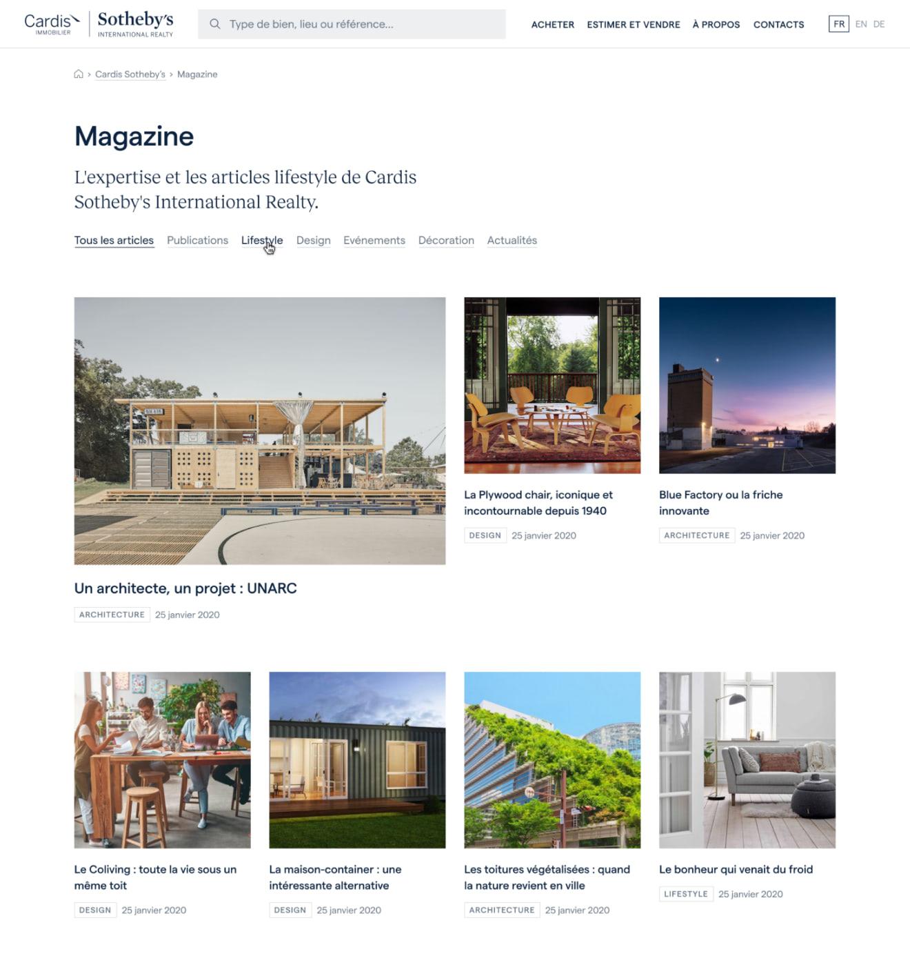 """Maquette """"Magazine"""" pour Cardis."""