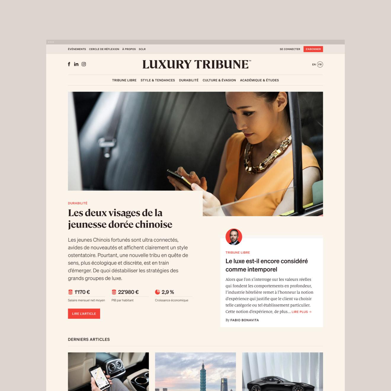 Homepage de Luxury Tribune.