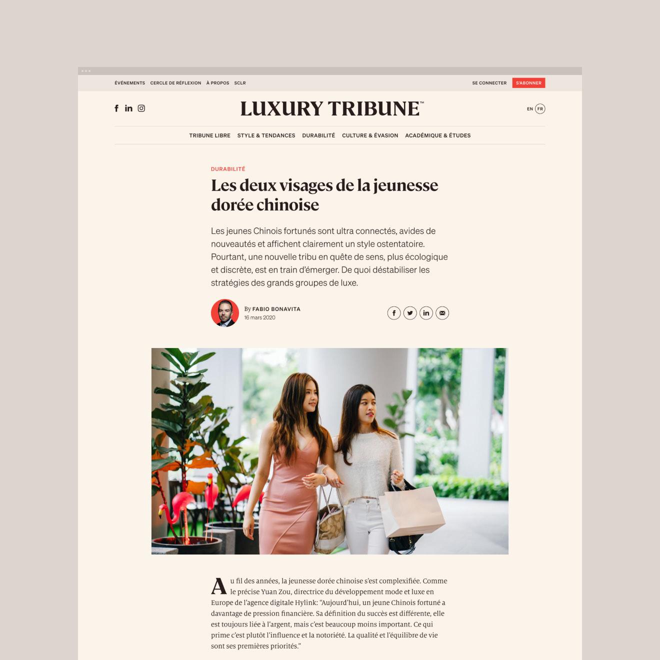 Page d'article de Luxury Tribune.