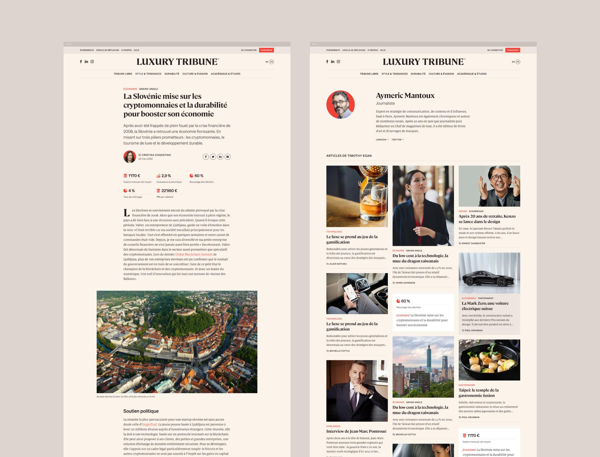 Deux maquettes du site Luxury Tribune.