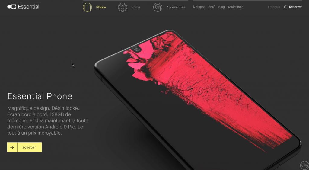 Homepage du smartphone Essential