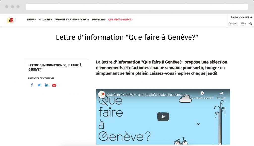 """Exemple """"Que faire à Genève ?"""" - Site réalisé par Antistatique Genève Lausanne"""