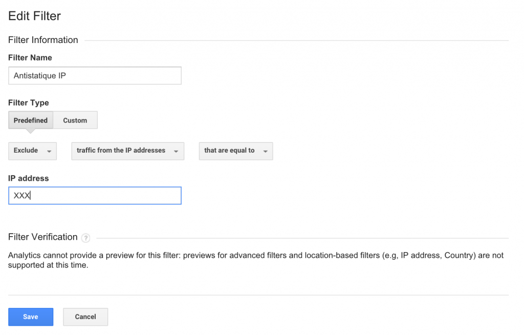 google analytics filtres