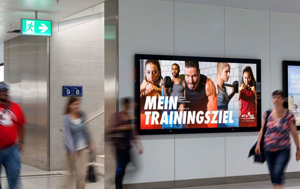 Let's Go Fitness Campagne de promotion online offline. Stratégie Digitale, Branding, Design: Marketing digital. Affichage. DOOH. Programmatique