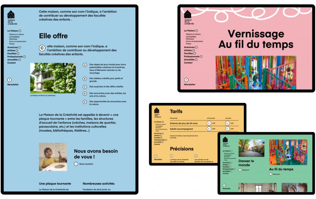 Plusieurs page du site de la Maison de la Créativité - Antistatique