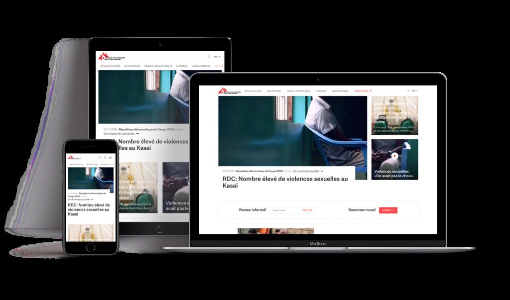 Présentation du site de Médecins Sans Frontières sur différents support s: téléphone, tablette et ordinateur