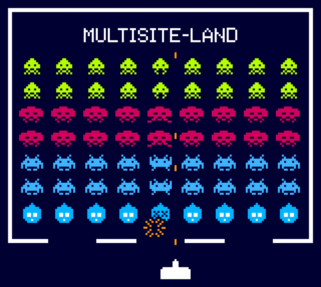 """Spaceship attacking Drupal 8 instances in the """"Multisite-Land"""" zone."""