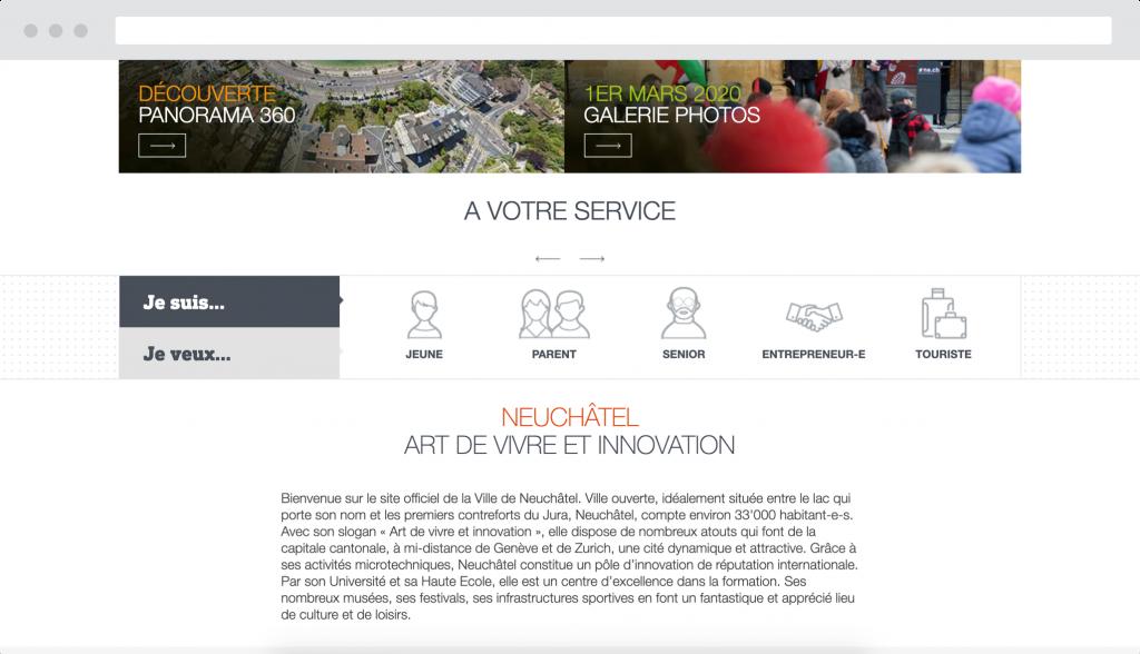 Exemple écran de navigation de la ville de Neuchâtel - Antistatique agence web lausanne geneve