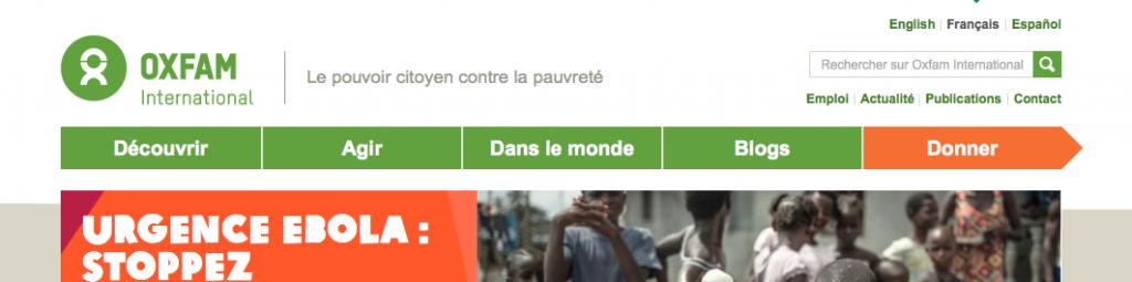 Capture d'écran du site oxfam