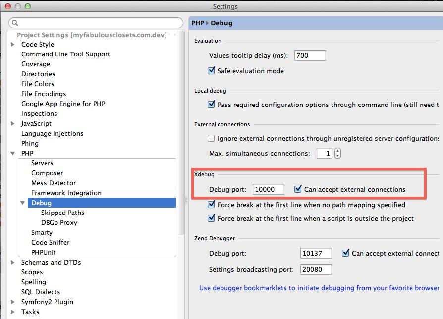 Screenshot showing the Xdebug parameters to setup : Debug port = 10000