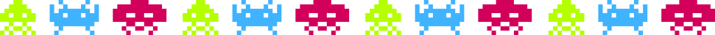 A stripe of different colorful Space Invaders characters.