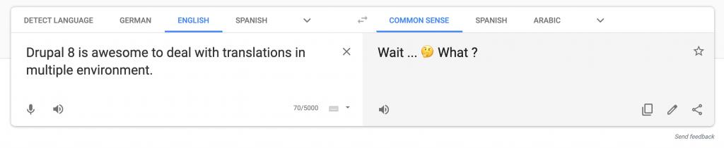 Capture d'écran de Google translate