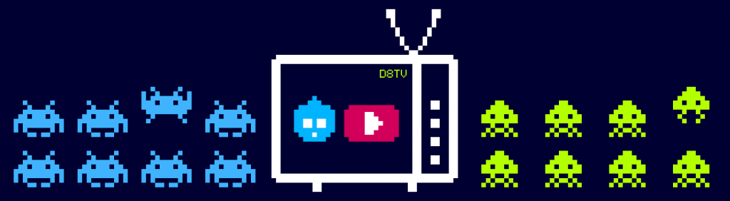 A Drupal TV channel on YouTube with 2 clans of Space Invaders on both sides of the tv set.