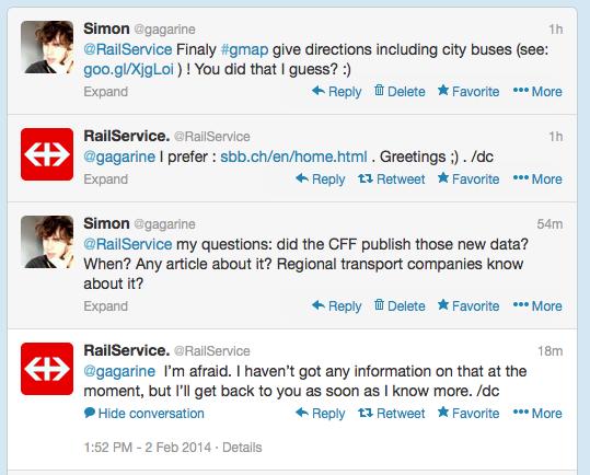 échange twitter avec RailService