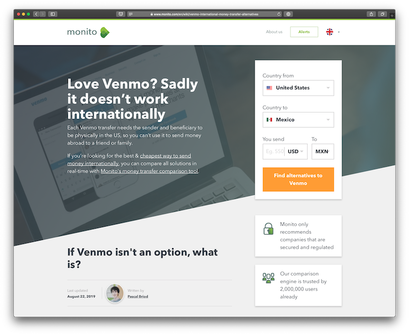 SEO - article sur les alternatives à Venmo pour le transfert à l'international. Antistatique agence web seo Genève Lausanne