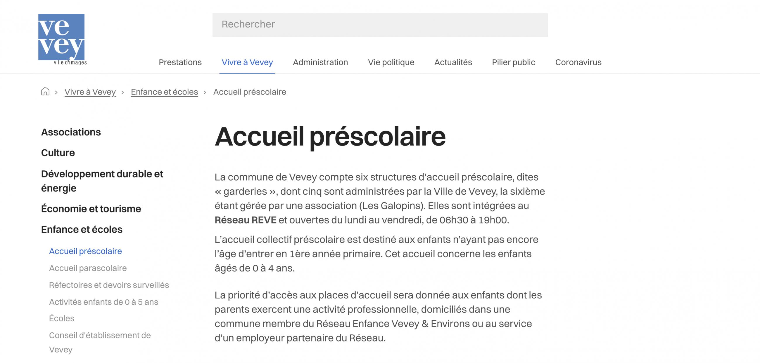 Fil d'Ariane sur le site web de la ville de Vevey