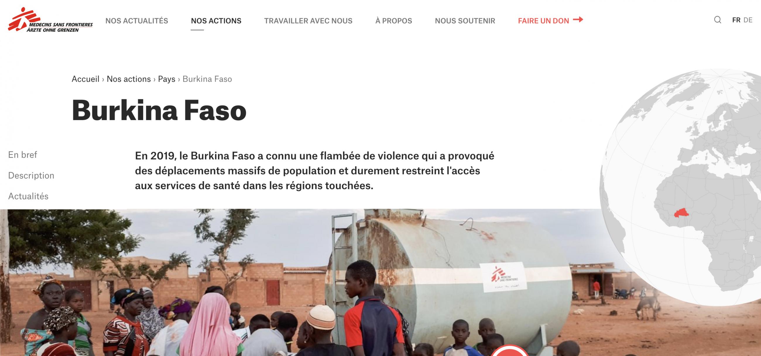 Fil d'Ariane sur le site de l'ONG Médecins Sans Frontières