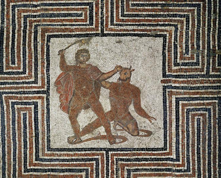 Thésée et le Minautore dans le labyrinthe