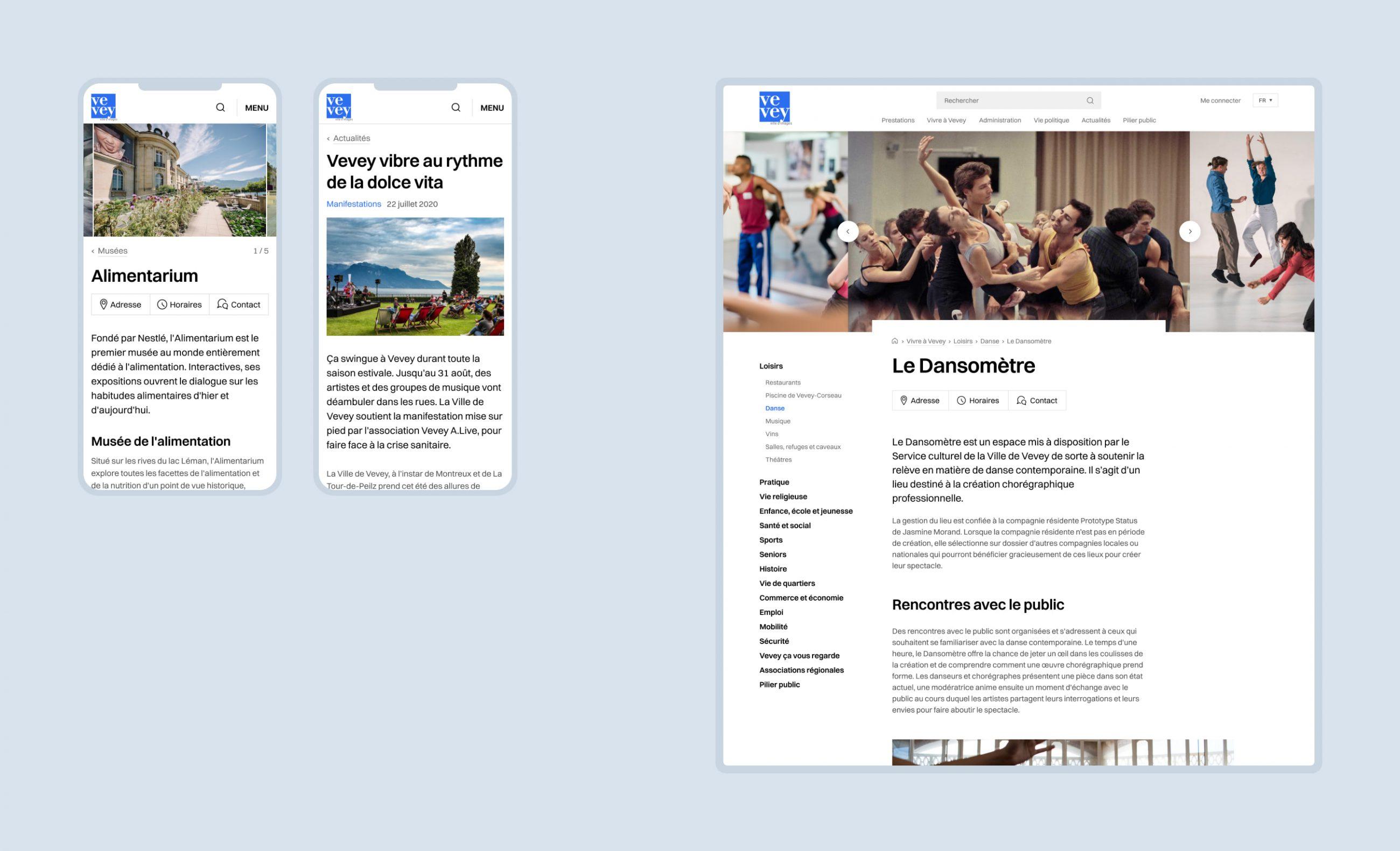 Maquettes de pages de contenu du site de la Ville de Vevey.